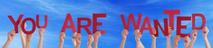Ludzie ręka chwyta Czerwonego słowa Ty Jesteś Chcieć niebieskim niebem Zdjęcia Stock