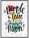 Ludzie radują się przy słońcem i marzę księżyc Motywacja plakat Zdjęcie Royalty Free