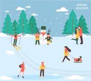 Ludzie relaksują w zima parku royalty ilustracja