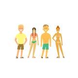 Ludzie relaksuje przy plażą Wektorowy ustawiający charaktery w mieszkanie stylu Ludzie w swimsuits Obraz Royalty Free