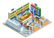 Ludzie Robi zakupy Isometric ilustrację ilustracji