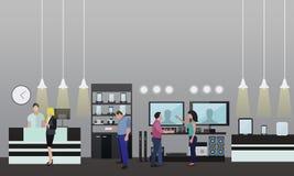 Ludzie Robi zakupy w centrum handlowym Elektronika użytkowa sklepu wnętrze również zwrócić corel ilustracji wektora Projektów szt ilustracji