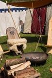 Ludzie, salesstands i ogólni wrażenia średniowieczny pełnoletni festiwal na Jeziornym Murner w Wackersdorf, Bavaria 10 2016 Maj Fotografia Stock