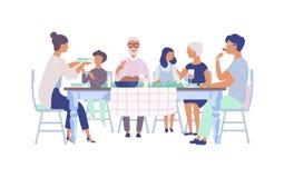 Ludzie siedzi przy stołem dekorowali z świeczkami, jedzący jedzenie, pijący wino i opowiadający each inny, Rodzinny wakacje ilustracji