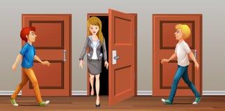 Ludzie spaceru w i drzwi out ilustracja wektor