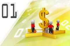Ludzie stoi na dolarowym znaku i gwiazdzie Zdjęcia Stock