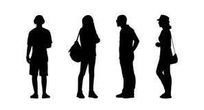 Ludzie stoi plenerowe sylwetki ustawiają 25 Zdjęcie Stock