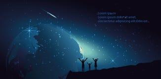 Ludzie stoi przed Ziemską kulą ziemską w wszechświacie, Światowa kula ziemska Obraz Royalty Free