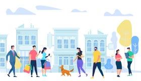 Ludzie styl życia w mieście Mężczyźni i kobiety odprowadzenie, royalty ilustracja