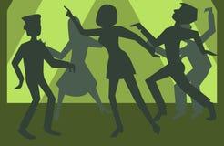 Ludzie sylwetek tanczy wektorowego tło Obrazy Stock