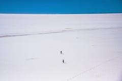 Ludzie sylwetki przy biel soli altiplano jeziorny Salar De Uyuni w Boliwia Zdjęcia Stock