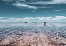 Ludzie sylwetki w Salar De Uyuni zdjęcia royalty free