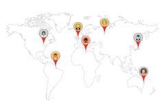 Ludzie szpilek gps lokaci na światowej mapy konturze Fotografia Royalty Free