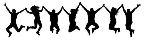 Ludzie trzyma ręki w skok sylwetce Śmieszni przyjaciele skaczą tło ilustracji