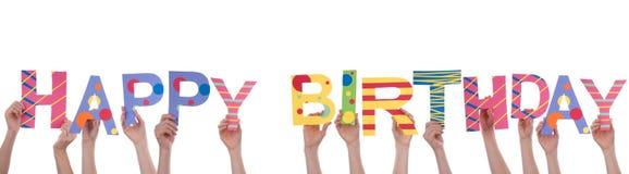 Ludzie Trzyma wszystkiego najlepszego z okazji urodzin Zdjęcie Stock