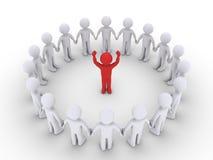 Ludzie tworzą okrąg i słuchają lider ilustracji