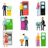 Ludzie używa ATM terminal set, mężczyzna i kobieta robi, ATM pieniądze maszynowemu depozytowi lub wycofanie ilustracjom Zdjęcie Stock