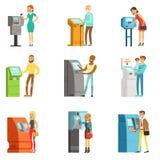 Ludzie używa elektronicznej jaźni usługowych terminale Zapłaty i otrzymywają pieniądze ATM pieniądze maszynowy depozyt i wycofani Obraz Royalty Free