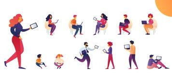 Ludzie używają pastylek i laptopów kreskówki wektor royalty ilustracja