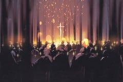 Ludzie uczęszczają czuwanie i światło świeczki w lesie ilustracji