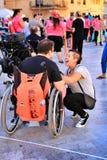 Ludzie uczestniczy w aktywność dla światowego dnia cerebralny palsy zdjęcie stock