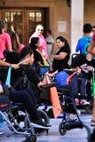 Ludzie uczestniczy w aktywność dla światowego dnia cerebralny palsy fotografia stock