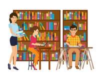 Ludzie w bibliotece, patrzejący dla informaci, pracuje z materiałami, literatura royalty ilustracja