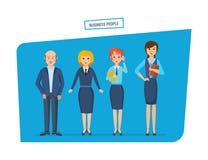 Ludzie w biznesów ubraniach z teczkami i torbami w rękach, ilustracji