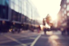 Ludzie w bokeh, ulica Londyn obraz stock