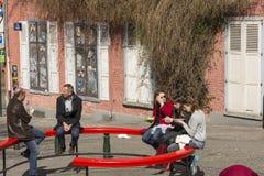 Ludzie w Brukselskim śródmieściu Zdjęcia Stock