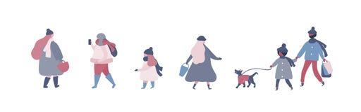 Ludzie w ciepłej zimy odzieżowym odprowadzeniu na ulicie z psem opowiada, iść pracować na telefonie, ilustracja wektor