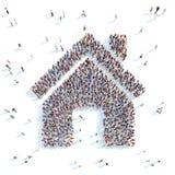 Ludzie w formie domu Zdjęcia Royalty Free