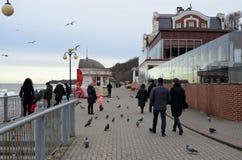 Ludzie w jesieni chodzą na deptaku na morzu bałtyckim, Rosja, Svetlogorsk obraz stock