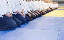 Ludzie w kimonie i hakama na sztuk samoobrony trenować Obraz Royalty Free