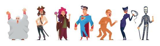 Ludzie w kostiumach dla Halloween Charakteru projekt dla szczęśliwego Halloween przyjęcia również zwrócić corel ilustracji wektor royalty ilustracja