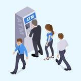 Ludzie w linii przed ATM Ilustracji