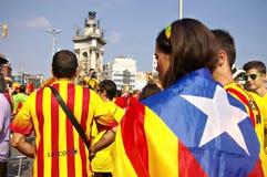 Ludzie w marszu protestacyjnym w Catalonia obrazy royalty free
