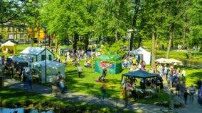 Ludzie w parkowym cieszy się dnia lata festiwalu timelapse, 19 2018 przy 15:00 Maj zbiory