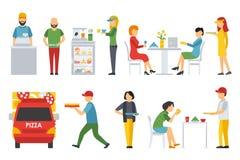 Ludzie w pizzeria wewnętrzne płaskie ikony ustawiać Deliveryman, klienci, bistra, kelnery, dostawa, samochód Pizzy pojęcia sieć ilustracja wektor