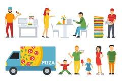 Ludzie w pizzeria wewnętrzne płaskie ikony ustawiać Kasjer, klienci, bistra, kelnery, dostawa, samochód Pizzy pojęcia sieć royalty ilustracja