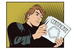Ludzie w retro stylu Mężczyzna czyta dokumenty Wiadomość i fact, ilustracji