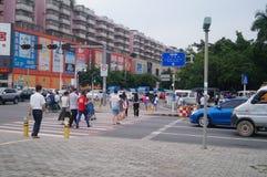 Ludzie w ruch drogowy zebry linii skrzyżowaniu Fotografia Stock