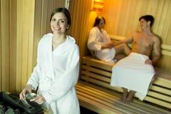 Ludzie w sauna Zdjęcie Royalty Free