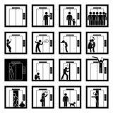 Ludzie w windy dźwignięcia Cliparts ikonach Fotografia Stock