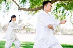 Ludzie ćwiczy tajlandzkiego chi w parku Zdjęcie Royalty Free