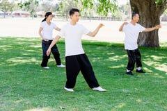 Ludzie ćwiczy tajlandzkiego chi w parku Obraz Royalty Free