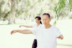 Ludzie ćwiczy tajlandzkiego chi w parku Obrazy Stock