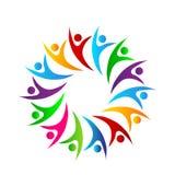 Ludzie wielo- koloru okręgu symbolu zrzeszeniowej dyskusji ludzi wpólnie, ludzie biznesu logo pracujący ludzi ilustracji