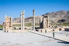 Ludzie wizyt ruin antyczny Persepolis Zdjęcie Stock