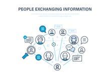 Ludzie wymienia informację Komunikacje, informacje zwrotne Internetowa sieć, ogólnospołeczna sieć ilustracja wektor